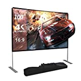 Dessports Projector Screen with Stand 100 inch 4K HD Portable Outdoor Movie Screens Wrinkle-Free Foldable Video Projection with Carry Bag for Indoor Office Home Theater Backyard Camping