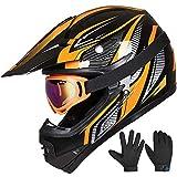 ILM Youth Kids ATV Motocross Helmet Goggles Sports Gloves Dirt Bike Motorcycle Off Road DOT Approved (Youth-XL, Orange Black)
