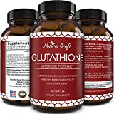 Natures Craft's Best Glutathione Supplement - Natural Skin Whitening Anti-Aging Benefits Reduced L-Glutathione Pills for Men & Women - Pure Antioxidant Milk Thistle Extract Liver Health GSH Detox