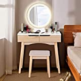 Dressing Table Vanity Set with Mirror Lights 3-Color Touch Screen Modern Makeup Vanity Desk Set with Drawers Padded Stool,Natural and White