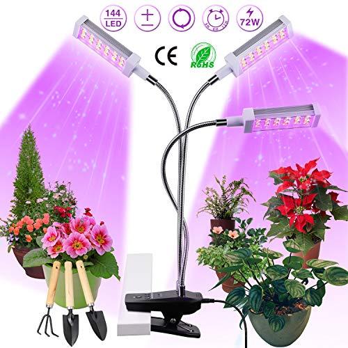 Pflanzenlampe LED, Pflanzenlicht, Pflanzenleuchte 72W, Wachsen licht with 144 Leds, Wachstumslampe Vollspektrum Wachstumslampe für Zimmerpflanzen mit Zeitschaltuhr, Plant Lights Stufenloses Dimmen.