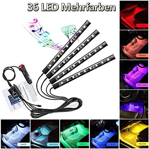 Illuminazione a LED per abitacolo auto, illuminazione vano piedi, 12 V RGB, striscia di luci neon, multicolore, musica a induzione, impermeabile, flessibile, con telecomando (36 LED)