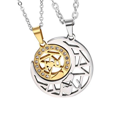 Cupimatch Collar Luna 2 Pcs de Sol Acero Inoxidable Regalo para Madre y Hija Regalo San Valentin Navidad para Amor