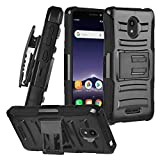 for Alcatel Insight 5005R, TCL A1 A501DL - Hybrid Armor Phone Case w/Stand/Belt Clip Holster - CV1 Black