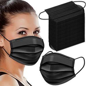 Black Disposable Face Masks, 100 Pcs Black Face Masks 3 Ply Filter Protection