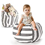 Creative QT Stuffed Animal Storage Bean Bag Chair - Toddler Size Stuff 'n Sit Organization for Kids Toy Storage - Available in a Variety of Sizes and Colors (27', Grey/White Striped)