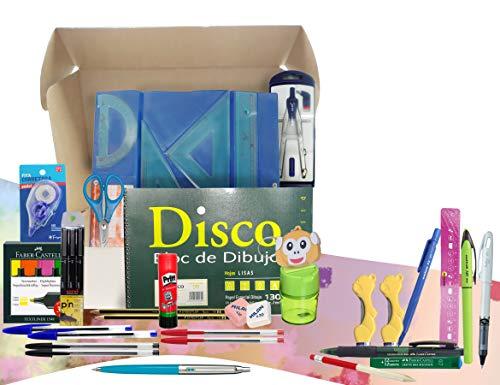 Papelivi - Lote Pack Set Material Escolar ESO, Instituto, Bachiller para DIBUJO, compás bigotera, calibrados, juego reglas, Pen drive 16 gb y más. Vuelta al Cole PRIMERAS MARCAS + REGALOS