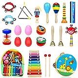 Jojoin 24 Pcs Juguetes Instrumentos Musicales, 14 Tipos de Juguetes de Instrumentos, Juguete Música Instrumento, Educativo Bebés, Regalos para Niños de Navidad y Cumpleaños etc.