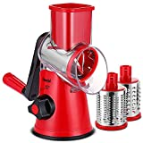 Geedel Rotary Cheese Grater, Kitchen Mandoline Vegetable Slicer with 3 Interchangeable Blades, Easy to Clean Rotary Grater Slicer for Fruit, Vegetables, Nuts