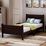 P PURLOVE Twin Platform Bed Frame Wood Platform Bed Mattress Foundation Sleigh Bed with Headboard Footboard Slat Support (Espresso)
