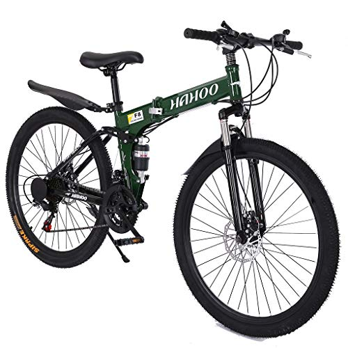 Kehen Adult Folding Bicycle, 21 Speed Folding Adult Bike, 26 Inch City Compact Bike Bicycle Urban Commuter for Women Men (Green)