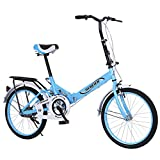 20 Inch Folding Bike for Adult Men and Women Teens, Mini Lightweight Foldable Bicycle for Student Office Worker Urban Environment, High Tensile Aluminum Folding Frame with V Brake Rear Rack (Blue)