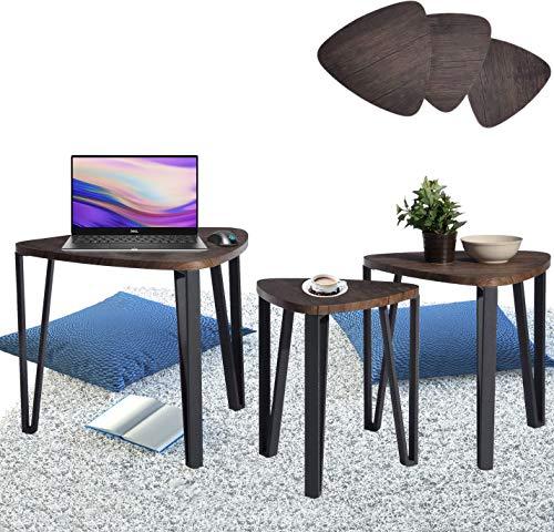 Aingoo Dreisatztische Beistelltisch 3er Set Nachttisch 3er Set Satztisch Sitzgruppe Niedrige Tisch Nesting Table Mitteldichter Holzfaserplatte MDF Tischbein Aus Metall Tisch In Braun