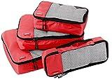 AmazonBasics - Bolsas de equipaje (pequeña, mediana, grande y alargada, 4 unidades), Rojo
