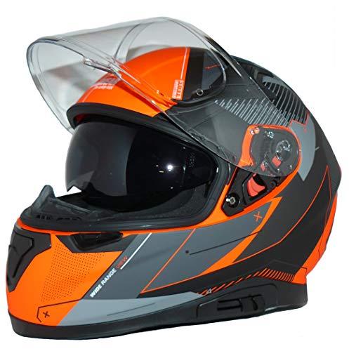 protectWEAR Casque de Moto intégral avec pare-soleil intégré et visière pliable 917-OG-L Gris/Orange