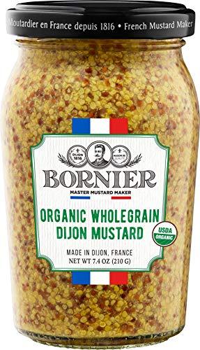 BORNIER Dijon Mustard, Organic Wholegrain, 7.4 Ounce