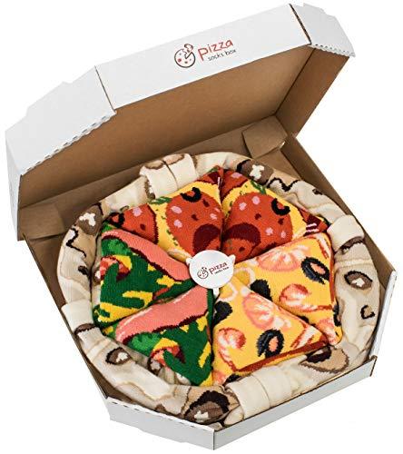 Rainbow Socks - Pizza Mix Frutti di Mare Pepperoni Italiana - Donna Uomo - 4 paia di Calze - Taglia 41-46