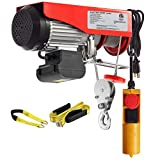 Partsam 1100 lbs Lift Electric Hoist Crane Remote Control Power System, Zinc-Plated Steel Wire Overhead Crane Garage Ceiling Pulley Winch w/Premium Straps (w/Emergency Stop Switch)