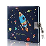 CAGIE Diary with Lock and Key for Boys Secret Private Leather Journal Explore Space 96 Sheets Lined and Blank Pages with Pen