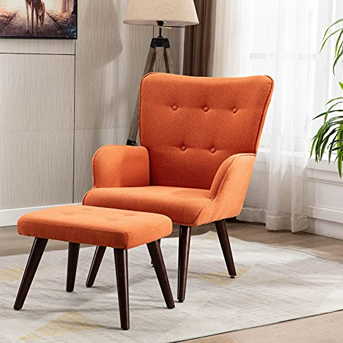 LoLado Accent Chair with Ottoman Set Modern Lounge Upholstered Armchair with Footrest Single Sofa, Reading Chair with Solid Wood Legs for Bedroom Living Room, Orange