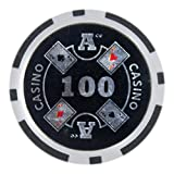 Brybelly Ace Casino Poker Chip Heavyweight 14-Gram Clay Composite – Pack of 50 ($100 Black)