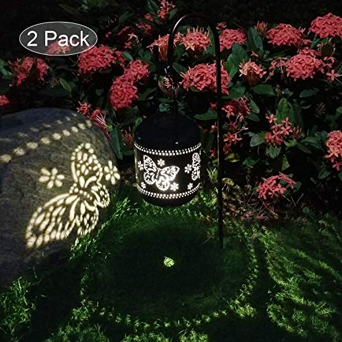 2 Pcs Solar Laterne Garten Licht Outdoor Solarleuchten Garten Deko für Außen Terrasse Deko Metall Kunst Garten Zubehör