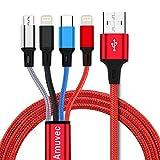 Amuvec Cable Multi USB, 1.2M/ 4 en 1 Chargeur Multiple Embout Rapide 2...