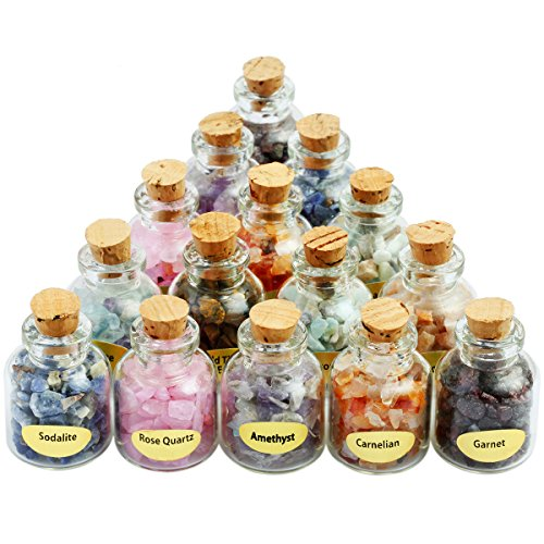 SUNYIK 9 Mini Gemstone Bottles Chip Crystal Healing Tumbled...