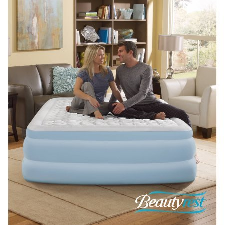 "Beautyrest Simmons Contour Aire 18"" Queen Raised Air Bed Mattress with Built-in Pump"