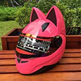 Personality Cat Ears Angled Full Face Modular Motorcycle Helmet, All Seasons Breathable Keep Warm Adjustable Detachable for Youth Adults Men & Women,Pink,M…