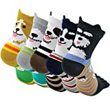 Women's Toe Sock Cute Cat Dog Ankle Sock Cotton Athletic Running Five Finger Socks for Girls (5 Pairs)