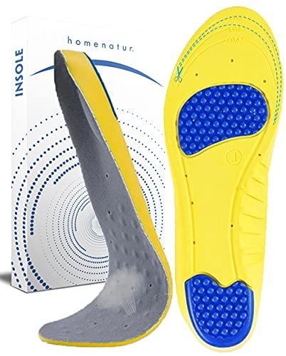 Plantillas Gel Hombre y Mujer - Uso Diario para Calzado Deportivo y de Trabajo - Diseño Flexible y Transpirable - Cuidado de Pies - Reducción de la Presión al Caminar (L 42-45)