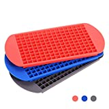 Farielyn-X 160 Grids Mini Tiny Silicone Ice Cube Trays-Flexible Stackable Mini Cocktail Whiskey Ice Cube Mold Storage Containers for Kitchen Bar Party Drinks with Variety Colors (3 PCS)
