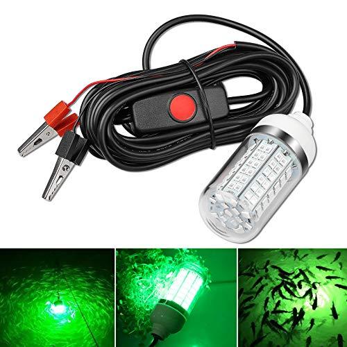 EEEKit 2V-24V 10W 108 LED 800 Lumen LED Verde Luce Pesca Immersioni subacquee, Lampada per cercatore di Esche da Pesca Notturna con Clip per Batteria e Spina di Alimentazione
