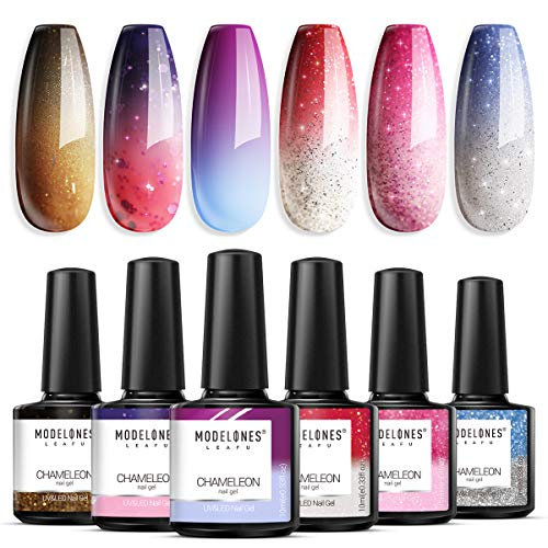 Modelones Mood Gel Nail Polish Set Temperature Color Changing Gel Colors Collection Red Blue Glitter Gel Polish Soak Off 6 Colors Christmas Gifts New Year Holiday Salon DIY at Home