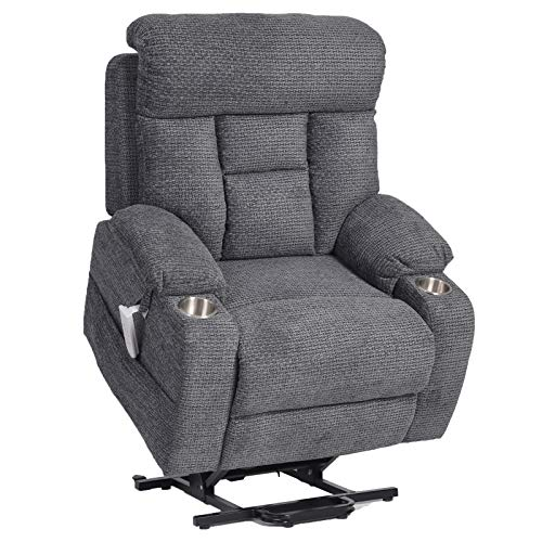 JinMueble Infinite Position Lift Chairs 3 OKIN Motor Lays Flat Electric Power Lift Recliner Chair for Elderly Chenille Fabric Soft and Sturdy with Side Pocket and Cup Holders (Grey Chenille)