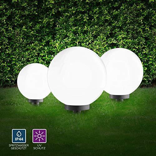 Kugelleuchten 3er Set außen, Gartenlampe 20, 30, 40cm | Außenleuchte spritzwassergeschützt | Gartenleuchte, E27-Fassung | Kugellampe mit 5m Kabelzuleitung
