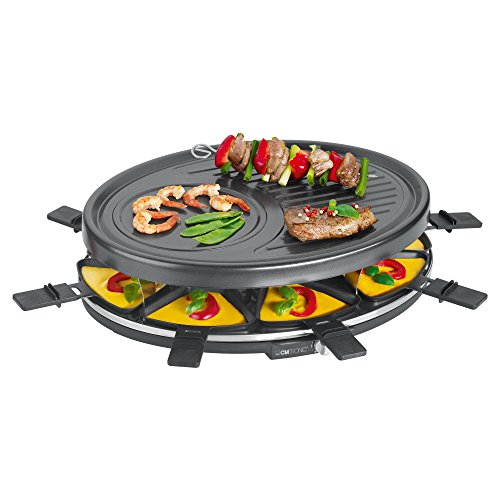 Clatronic RG 3517 Raclette-Grill zum Grillen und Überbacken, 8 Pfännchen und 8 Holzspatel, Antihaftbeschichtung, Stufenlos regelbarer Thermostat, max. 1400 Watt