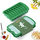 JACOBAKE Sausage Mold for DIY Breakfast Sausage Hot Dogs, BPA Free, 2 Packs Non Stick Silicone Hot Dog Mold for Homemade Hotdog Buns Baby Food (Green, 8-Cavity)