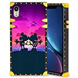DISNEY COLLECTION Square Case iPhone XR 6.1 Inch Mickey Minnie Mouse Disney Kiss Luxury Elegant Soft TPU Full Body Shockproof Protective Case Metal Decoration Corner Back Cover iPhone XR Case