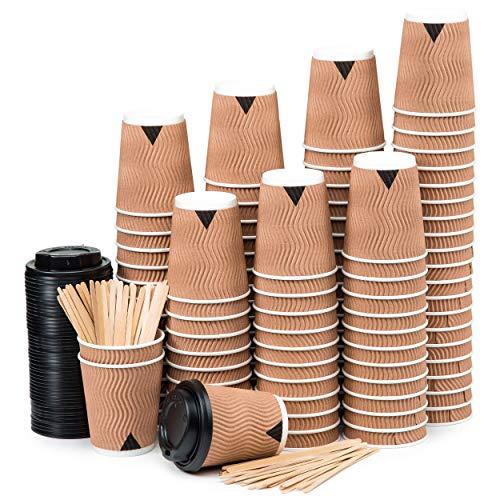 110 Bicchieri Carta 360 ml Doppia Parete Kraft Ripple – Tazza con Coperchio per Prendere Il caffè con Le Sratrici di Legno per Il Prendere Il caffè, Il tè, Le Bevande Calde