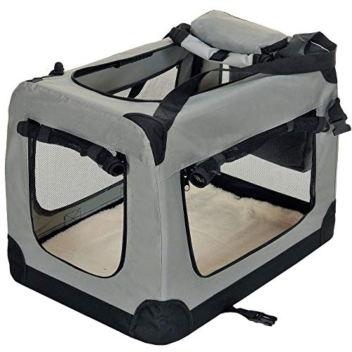 PetViolet Transportbox für Haustiere Hunde Katzen, Faltbar, 60x42x42 cm, Grau