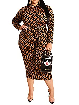 Features: V-Neck, Zipper Up Front, Long Sleeve, Plaid Print, Floral Print, Back Split, Slim Fit, with Belt, Plus Size Bodycon Dress for Women. The Bodycon Midi Dress Can Make You More Attractive. Design: It Can Be Worn Before and After, The Side with...