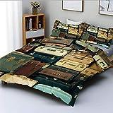 Juego de funda nórdica, maletín vintage colorido, cuero antiguo, mapa de regalo de viaje decorativo, nostalgia, juego de cama decorativo de 3 piezas con 2 fundas de almohada, marrón crema verde, el me