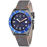 Precision Japanese Seiko 24 jewels self-winding movement Textured blue layered dial with luminous hands Case: Solid stainless steel case Strap: Genuine grey leather strap Two year worldwide manufactures warranty