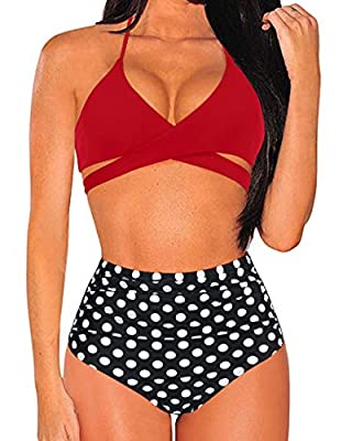 Material: 82% Polyamide + 18% Elasthane, elastic and soft, comfortable bathing suits to wear and swim in; Top: Not full coverage perfect for small chest customer, Adjustable halter strap, Push-up padded bra, Tie at back, Red front cross swimwear for ...