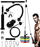 "YaNovate LAT Pull Down & Lift Up Pulley System Gym with Widen Loading Pin, Tricep Rope, Curl Bar, 90"" Adjustable Cable for Olympic Weights Pulldowns Exercise Machine, Home Gym Workout Equipment"