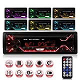 Autoradio Bluetooth, 1 Din Radio de Voiture, 4x60W Poste Radio 7 Couleurs...