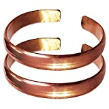 Hand Forged 100% Copper Bracelet ~ Made with Solid and High Gauge Pure Copper ~ Effectively Relief of Joint Pain, Arthritis, Joint Inflammation and Skin Allergies. (Set of 2, Plain Copper)