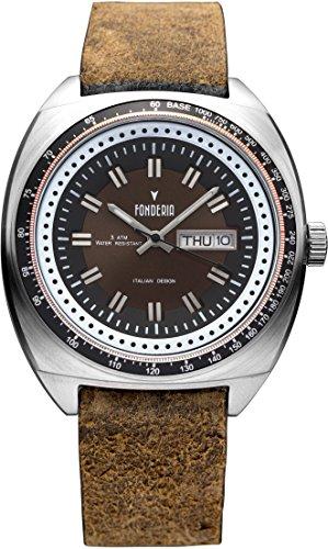 Fonderia Herren Analog Quarz Smart Watch Armbanduhr mit Leder Armband P-6A004UM1